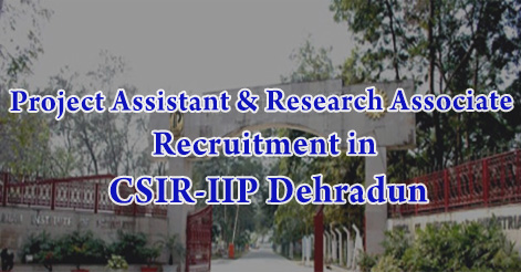 Project Assistant & Research Associate Recruitment in CSIR-IIP Dehradun