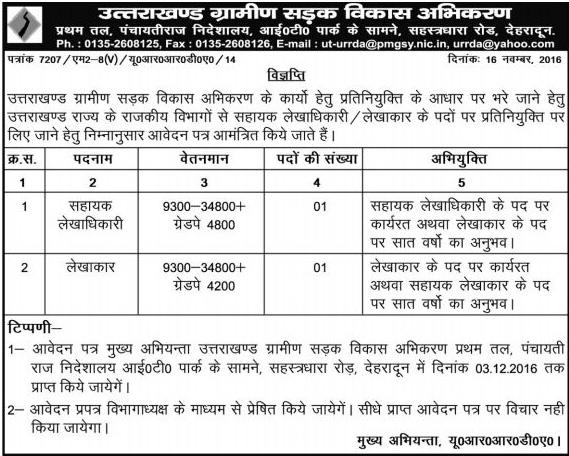 Accountant & Assistant Accountant Recruitment in URRDA Dehradun