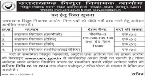 Assistant Director Recruitment Uttarakhand Electricity Regulatory Commission (UERC)