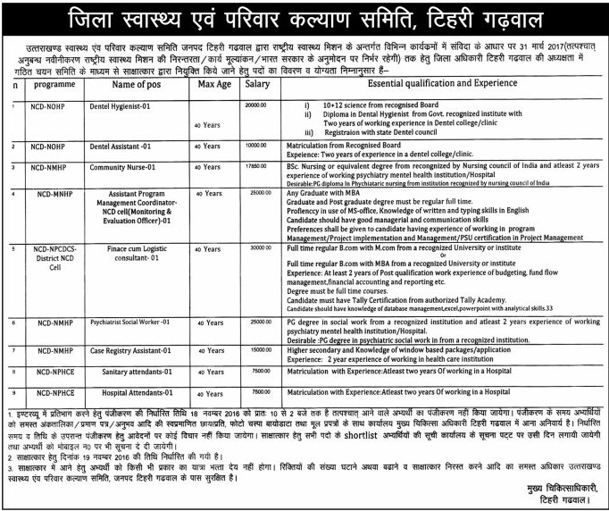 Hygenist, Assistant, Nurse, Coordinator, Consultant Recruitment in DHFWC Tehri
