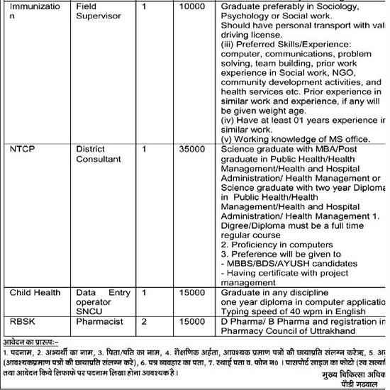 Medical Staff Recruitment in NRHM Pauri Garhwal 3