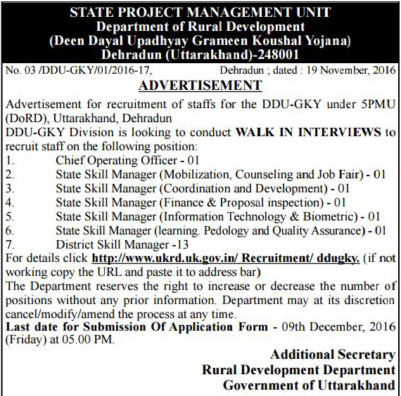 Operating Officer, State & District Skill Manager Recruitment in DORD Dehradun