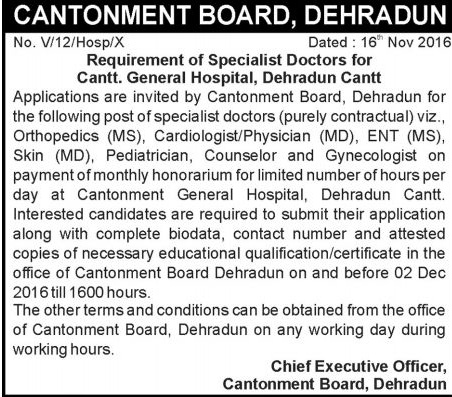 Specialist Doctor Recruitment in Cantonment Board Dehradun