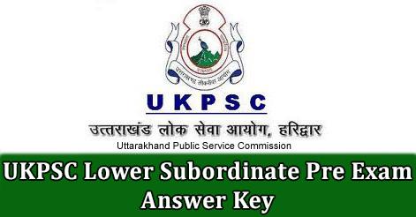 UKPSC Lower Subordinate Pre Exam Answer Key