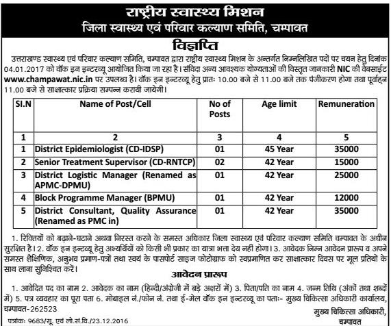 Medical Staff Recruitment in Champawat
