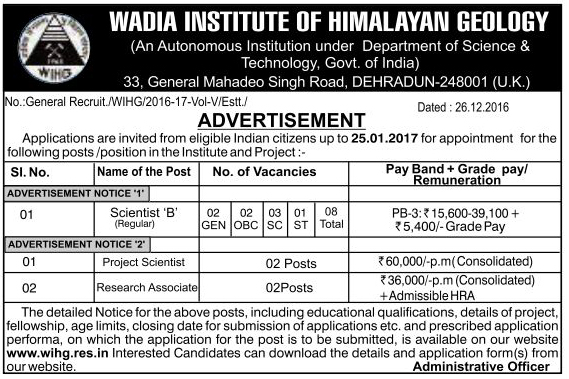 Scientist & Associate Recruitment in WIHG Dehradun