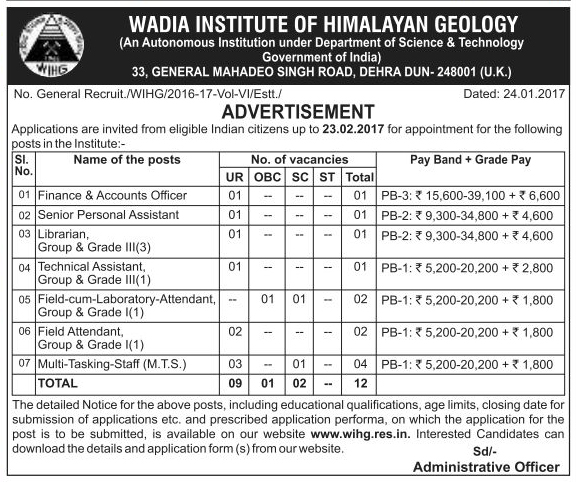 Account Officer, Assistant, Librarian, Attendant & MTS Recruitment in WIHG Dehradun