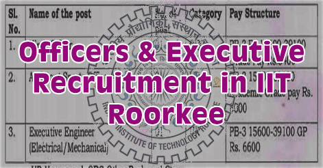 Officers & Executive Recruitment in IIT Roorkee