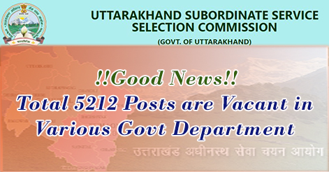 Total 5212 Posts are Vacant in Various Govt Department