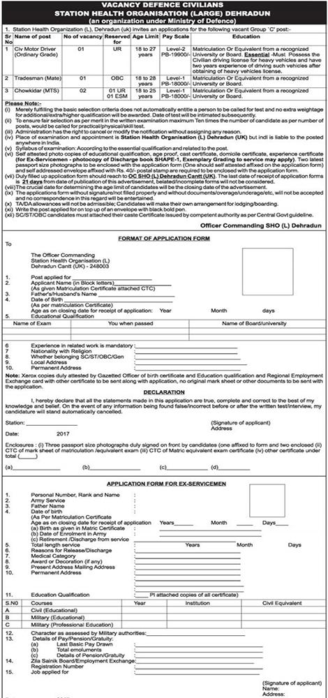 Driver, Tradesman & Chawkidar Recruitment in OCSHO (L) Dehradun
