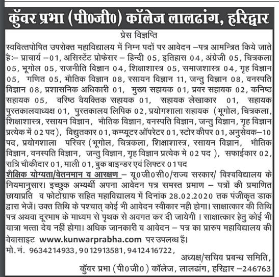 Multiple Post Recruitment in Kunwar Prabha PG College Haridwar