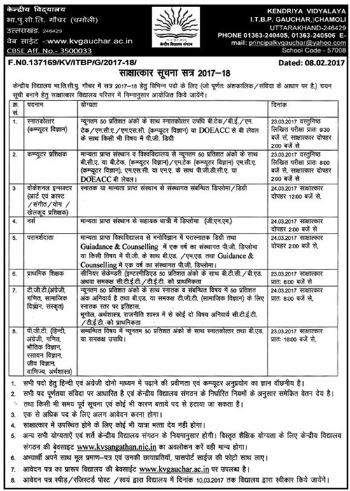 Teacher Recruitment in Kendriya Vidhyalay ITBP Gauchar