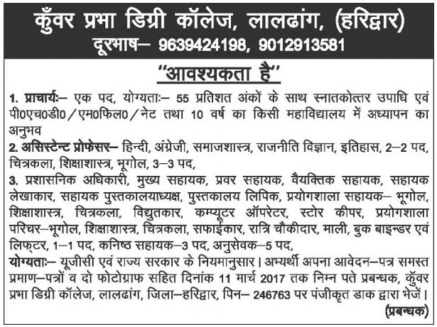 Teachers & Non Teaching Staff Recruitment in Kunwar Prabha Degree College Haridwar