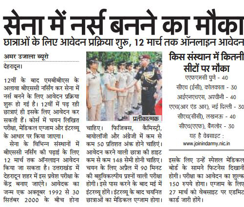 Golden chance to become Nurse in Indian Army