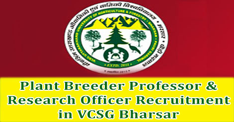 Plant Breeder Professor & Research Officer Recruitment in VCSG Bharsar
