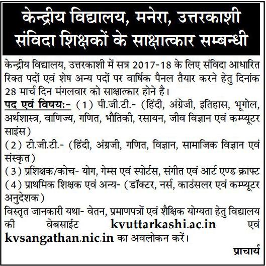Teachers Doctor & Nurse Recruitment in Kendriya Vidyalaya Manera Uttarakashi
