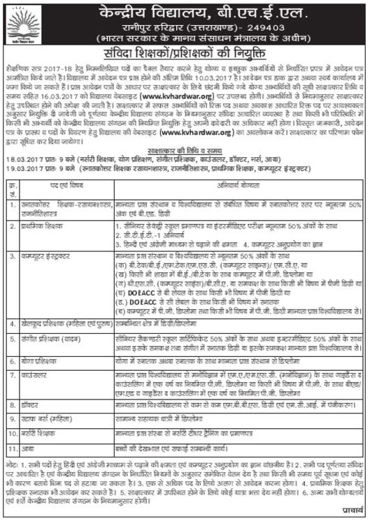 Teaching & Non Teaching Staff Recruitment in Kendriya Vidyalaya Haridwar