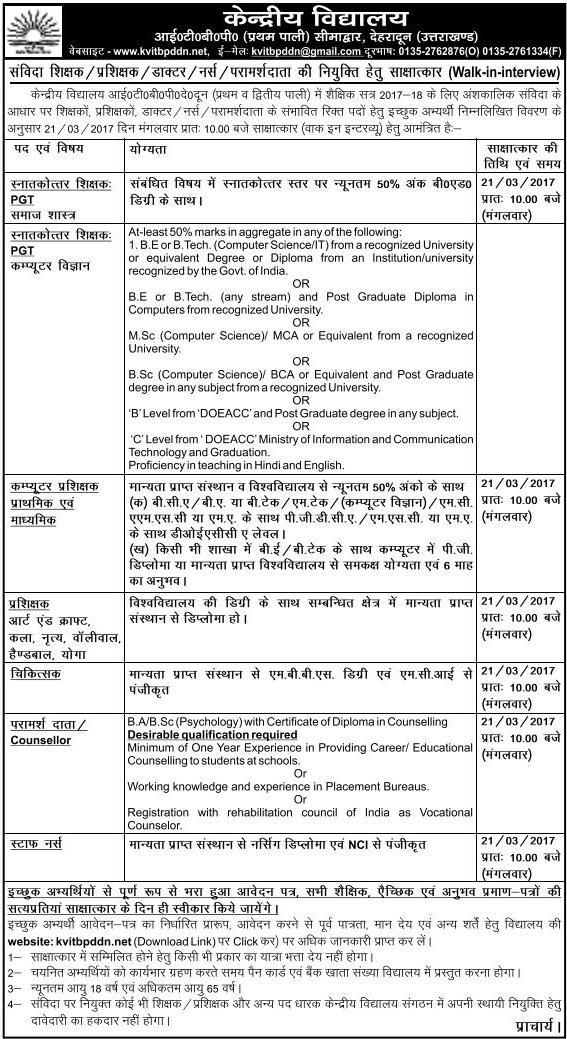 Teaching & Non Teaching Staff Recruitment in Kendriya Vidyalaya ITBP Dehradun