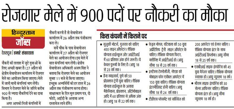 900 Posts will be Filled in Dehradun Job Fair