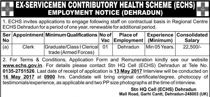 Clerk Recruitment in ECHS Polyclinic Dehradun