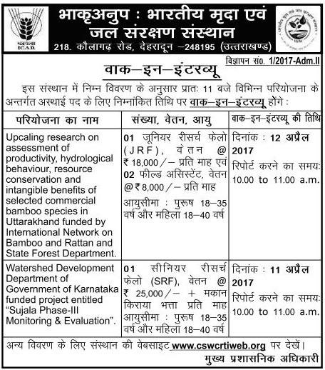JRF SRF & Field Assistant Recruitment in ICAR Dehradun