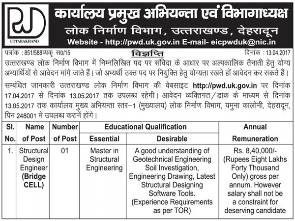 Structural Design Engineer Recruitment in PWD Dehradun