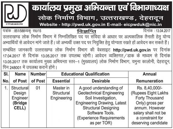 Structural Design Engineer Recruitment in PWD Dehradun