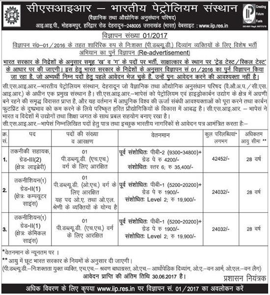 Assistant & Technician Recruitment in CSIR-IIP Dehradun
