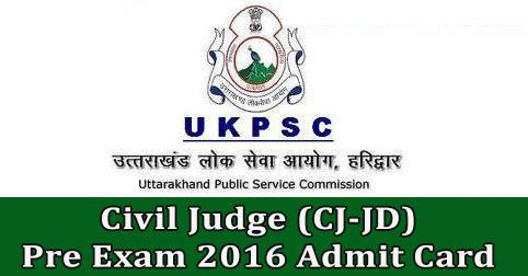 Civil Judge (CJ-JD) Pre Exam 2016 Admit Card