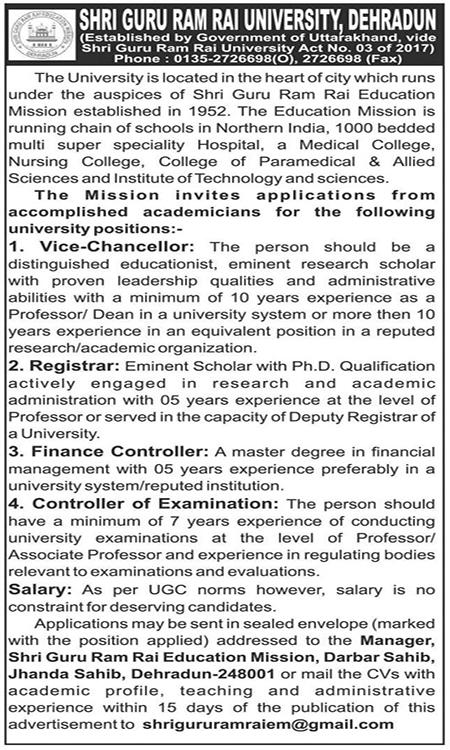 Recruitment in SGRR College Dehradun