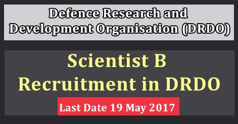 Scientist B Recruitment in DRDO