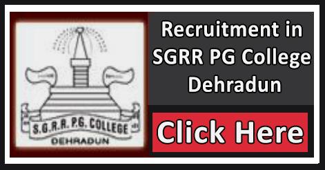 Vice Chancellor, Controller & Registrar Recruitment in SGRR College Dehradun