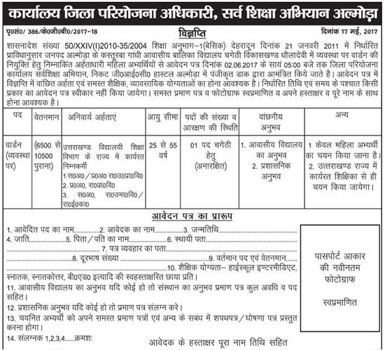 Warden Recruitment in Kasturba Gandhi Girls Inter College Almora