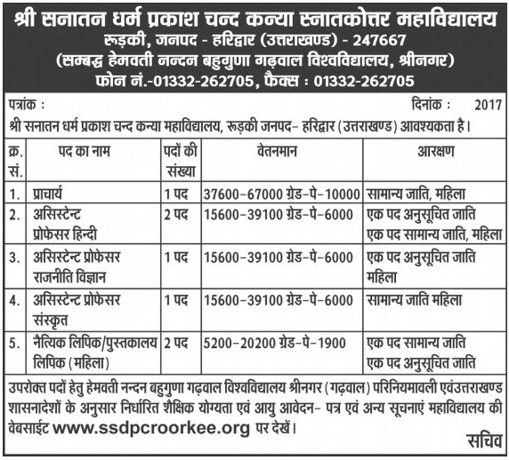 Teaching Staff Recruitment in Girls Degree College Roorkee