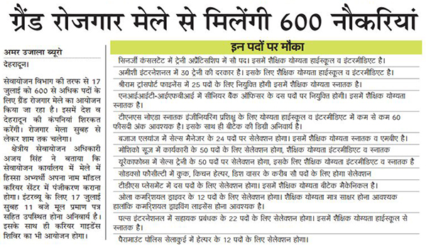 600 Posts will be Filled through Grand Job Fair in Dehradun
