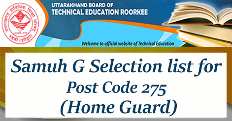 UBTER Samuh G Selection list for Post Code 275 Home Guard