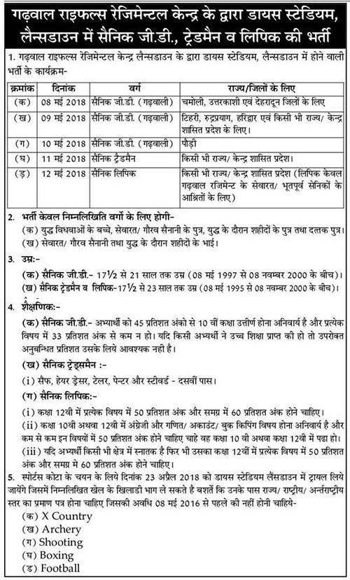 Garhwal Rifle Bharti Lansdowne May 2018