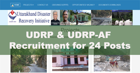 24 Vacancies in Uttarakhand Disaster Recovery Project (UDRP)