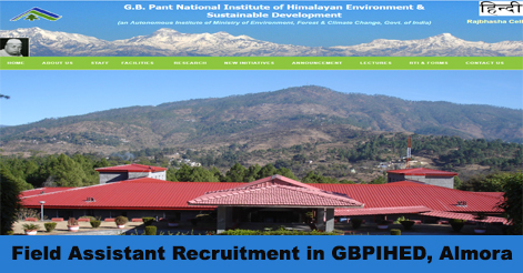 Walk-in for Field Assistant post in GBPIHED, Almora