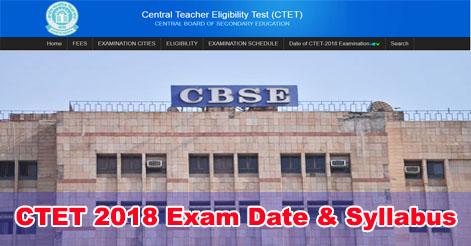 CTET 2018 Exam Date & Syllabus