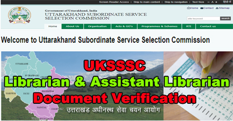 UKSSSC Document Verification Detail for Librarian & Assistant Librarian