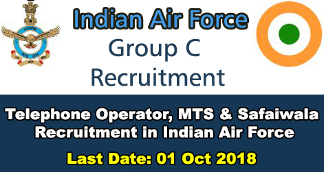 16 MTS, Operator & Safaiwala Recruitment in Indian Air Force