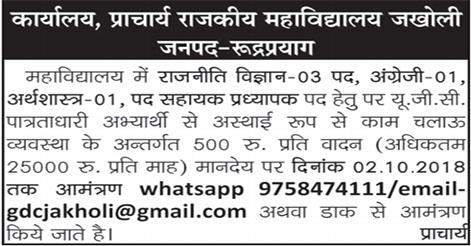Assistant Professor Recruitment in Govt. PG College Jakholi Rudraprayag