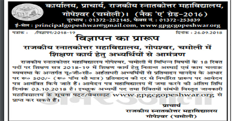 Guest Teacher Recruitment in Govt. PG College Gopeshwar Chamoli