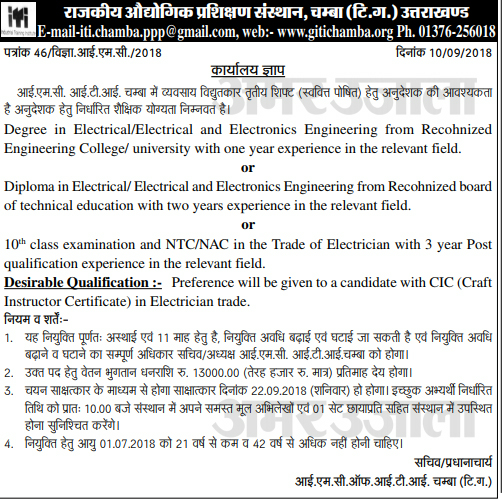 Instructor Recruitment in ITI Chamba (Tehri Garhwal)