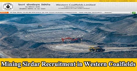 Mining Sirdar Recruitment in Western Coalfields Limited