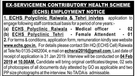 Multiple Posts Recruitment in ECHS Polyclinic Tehri & Raiwala