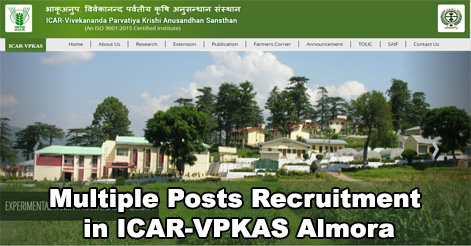 Multiple Posts Recruitment in ICAR-VPKAS Almora