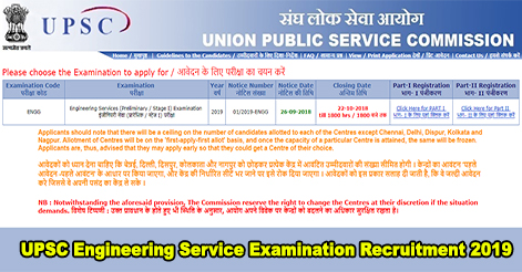 UPSC Engineering Service Examination Recruitment 2019