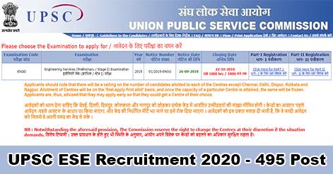 UPSC Engineering Service Examination Recruitment 2020